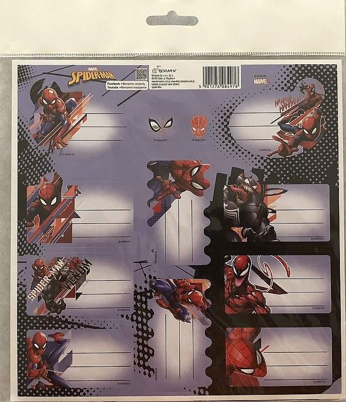 BENIAMIN Samolepiace menovky Spiderman Papír, 20x20 cm