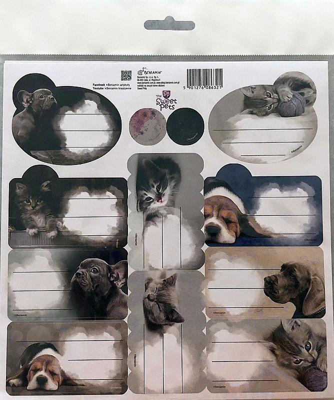 BENIAMIN Samolepiace menovky Sweet Pets Papír, 20x20 cm