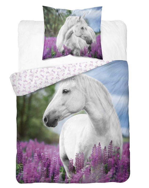 DETEXPOL Obliečky Biely Kôň v levanduľi  Bavlna, 140/200, 70/80 cm