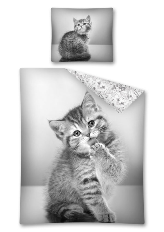 DETEXPOL Obliečky Sweet Animals mačiatko  Bavlna, 140/200, 70/80 cm