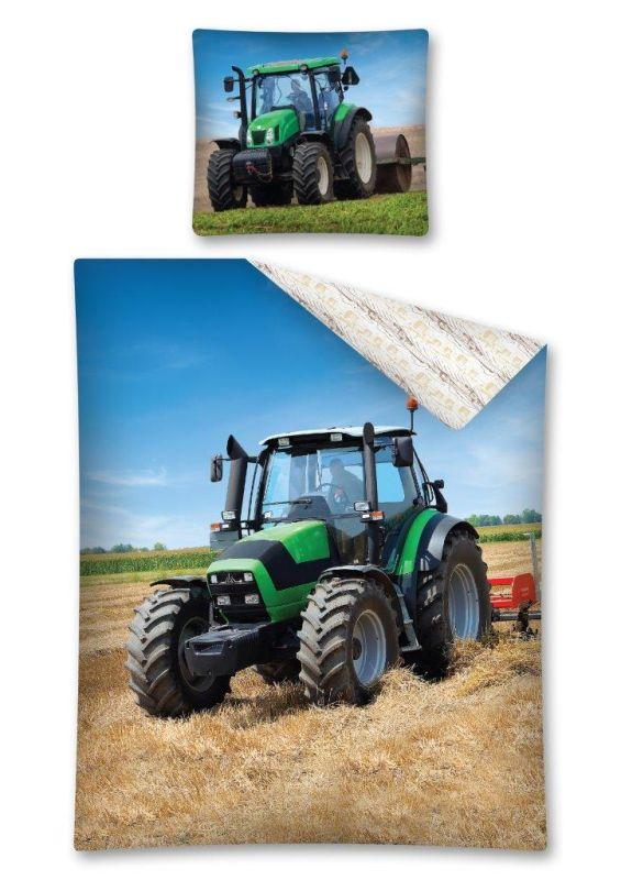 Obliečky Traktor zelený 140/200, 70/80