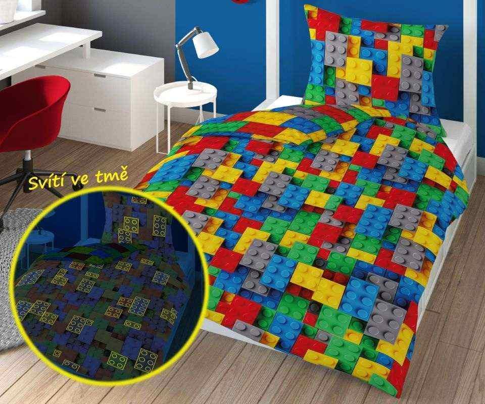 DETEXPOL Obliečky Kocky color svietiace  Bavlna, 140/200, 70/80 cm