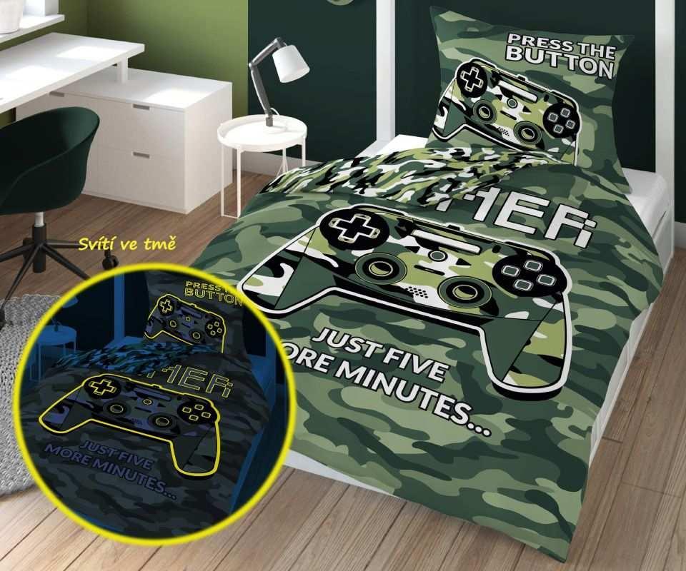 DETEXPOL Obliečky Gamer Army svietiaci  Bavlna, 140/200, 70/80 cm