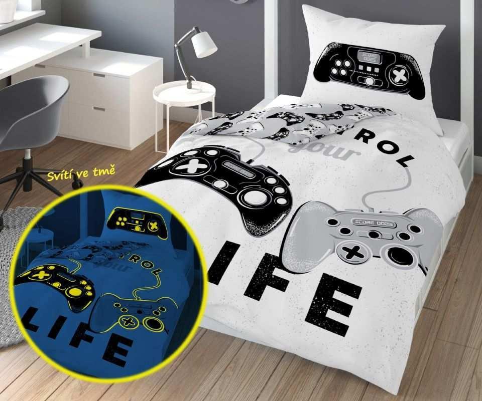 DETEXPOL Obliečky Game Life svietiaci  Bavlna, 140/200, 70/80 cm