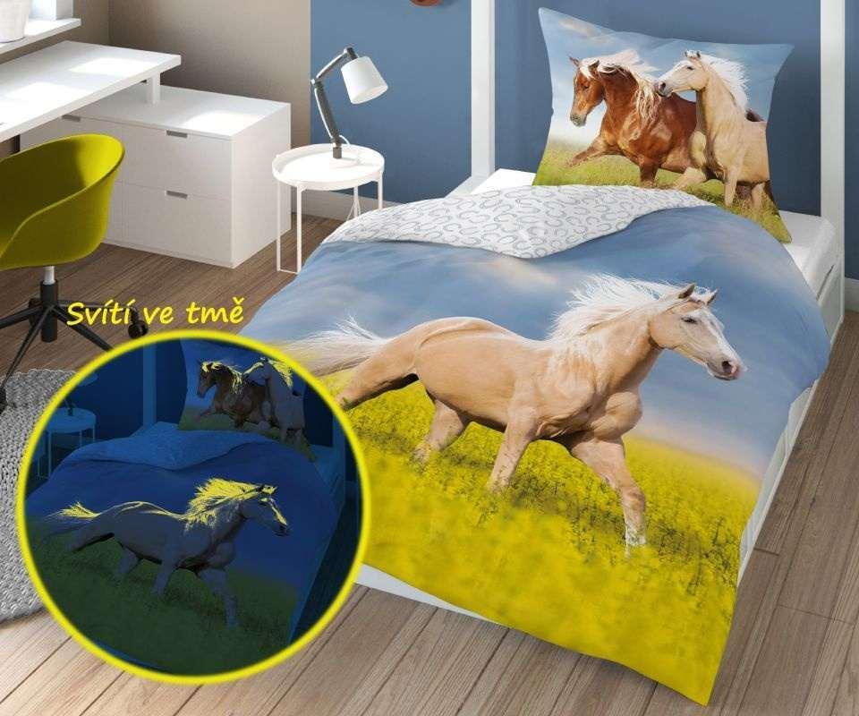 DETEXPOL Obliečky Kôň svietiace  Bavlna, 140/200, 70/80 cm