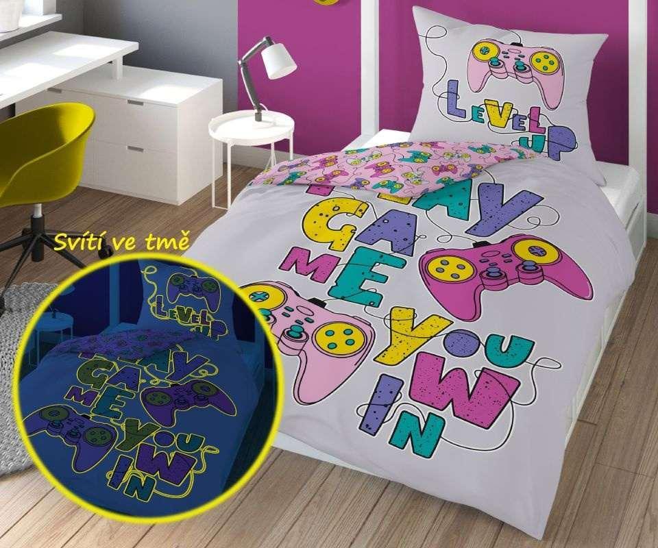 DETEXPOL Obliečky Play Game Pink svietiace  Bavlna, 140/200, 70/80 cm
