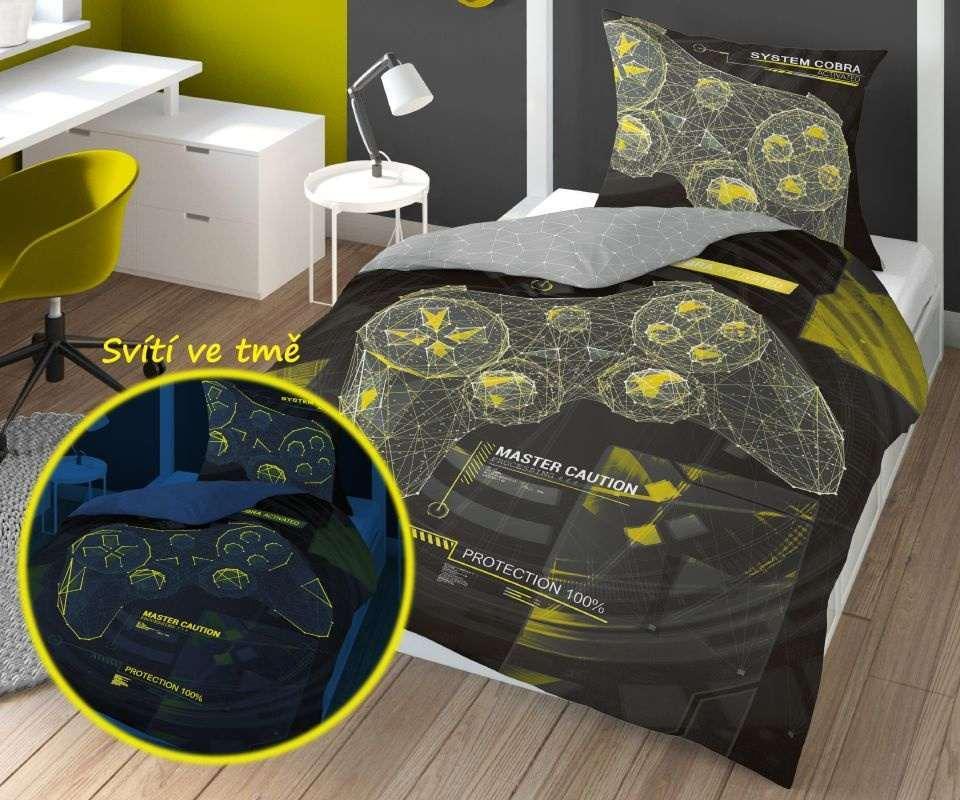 DETEXPOL Obliečky Master Game svietiace  Bavlna, 140/200, 70/80 cm