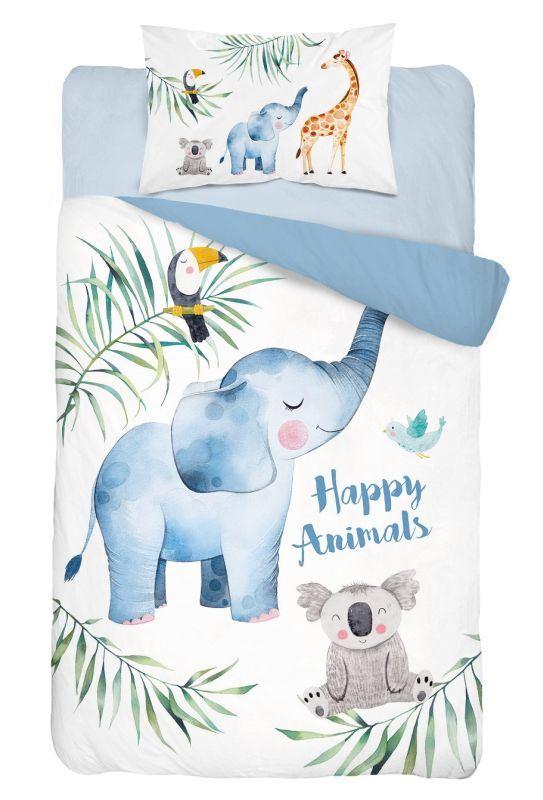 DETEXPOL Bambusové obliečky do postieľky Zvieratká modrá  Bavlna, Bambus, 100/135, 40/60 cm