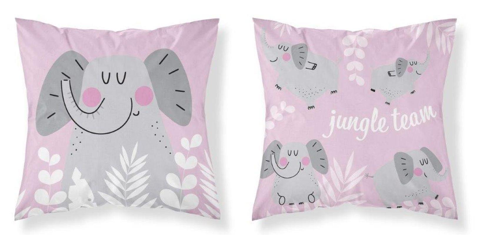 DETEXPOL Povlak na vankúšik Slon Jungle pink  Bavlna, 40/40 cm
