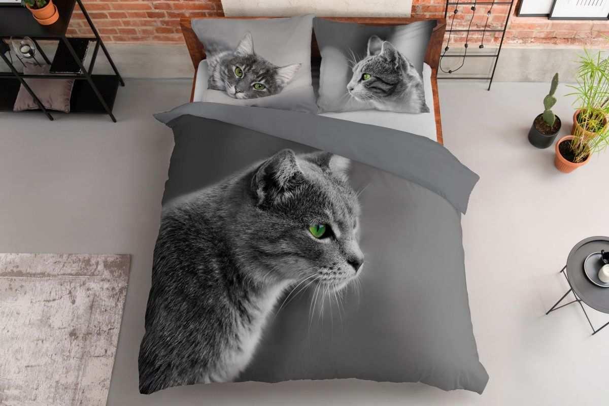 DETEXPOL Francúzske obliečky Mačka sivá  Bavlna, 220/200, 2x70/80 cm