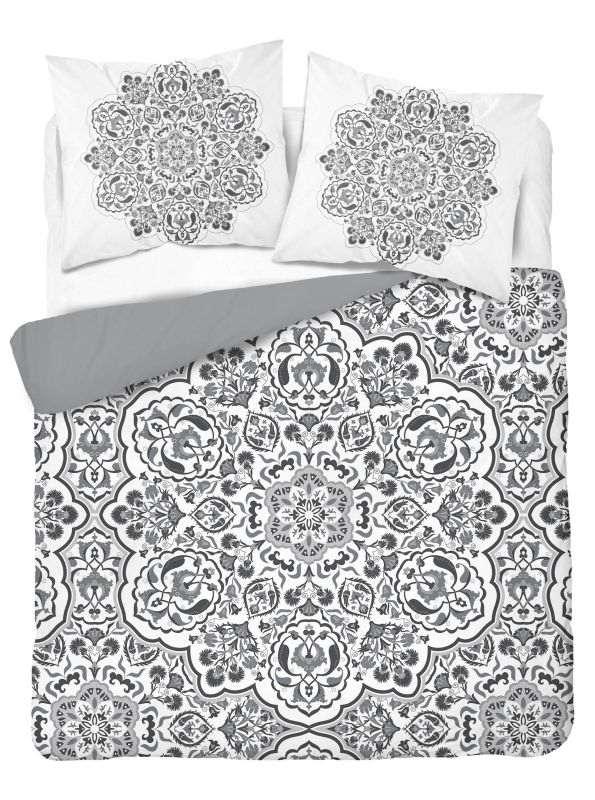 DETEXPOL Francúzske obliečky Mandala grey  Bavlna, 220/200, 2x70/80 cm