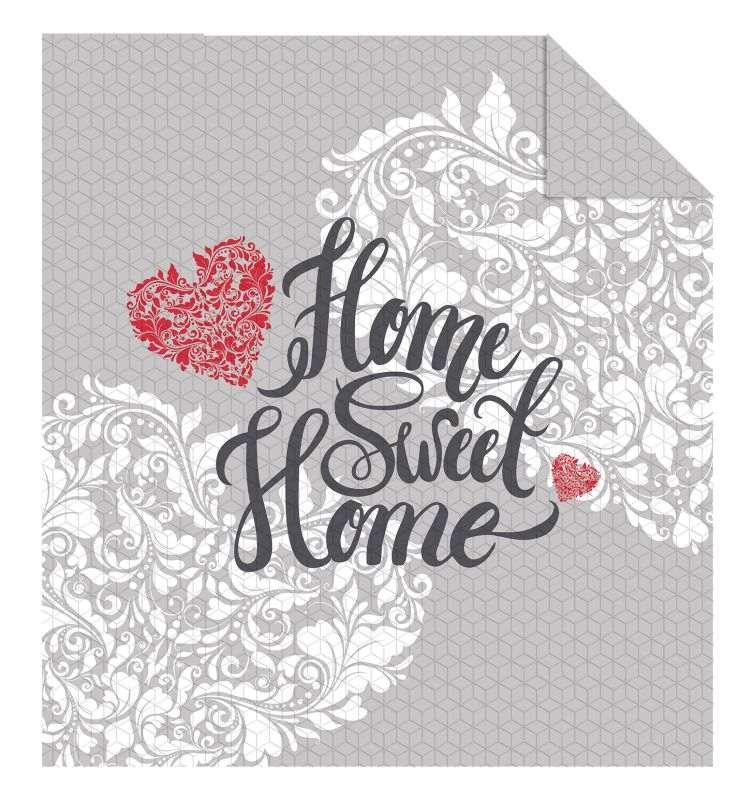 DETEXPOL Prehoz na posteľ Home Sweet Home grey  Polyester, 170/210 cm