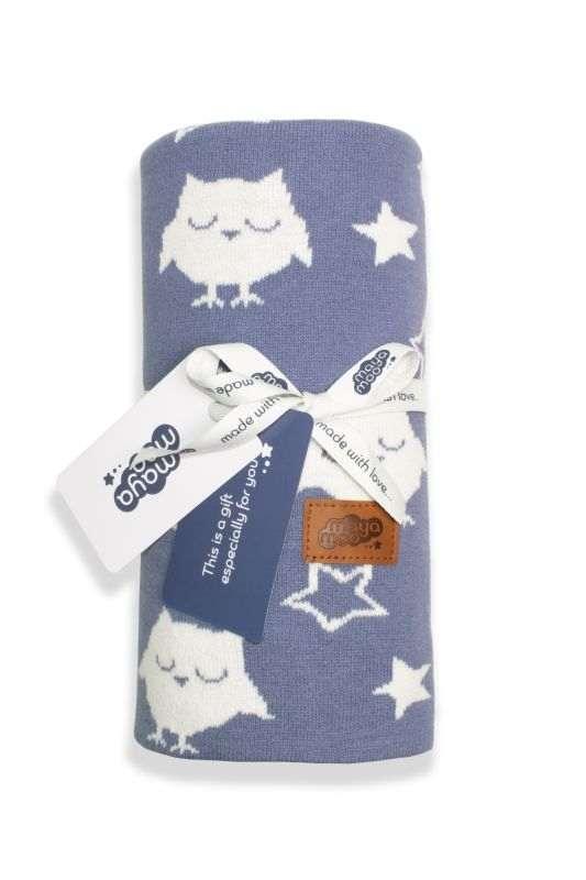DETEXPOL Pletená žakárová bavlnená deka do kočíka sovičky modrá  Bavlna, 80/100 cm