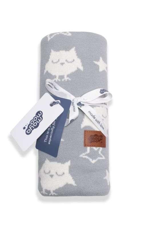 DETEXPOL Pletená žakárová bavlnená deka do kočíka sovičky sivá  Bavlna, 80/100 cm
