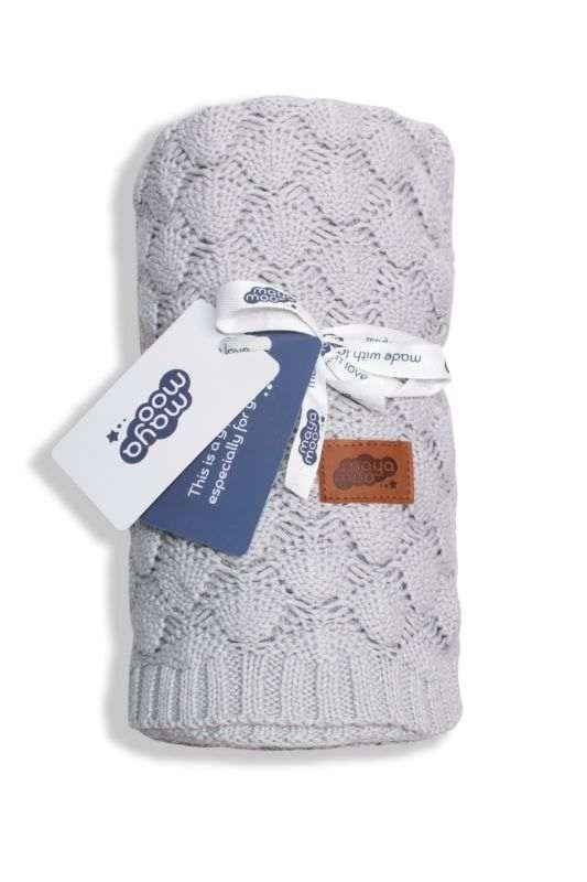 DETEXPOL Pletená bavlnená deka do kočíka svetlosivá  Bavlna, 80/100 cm
