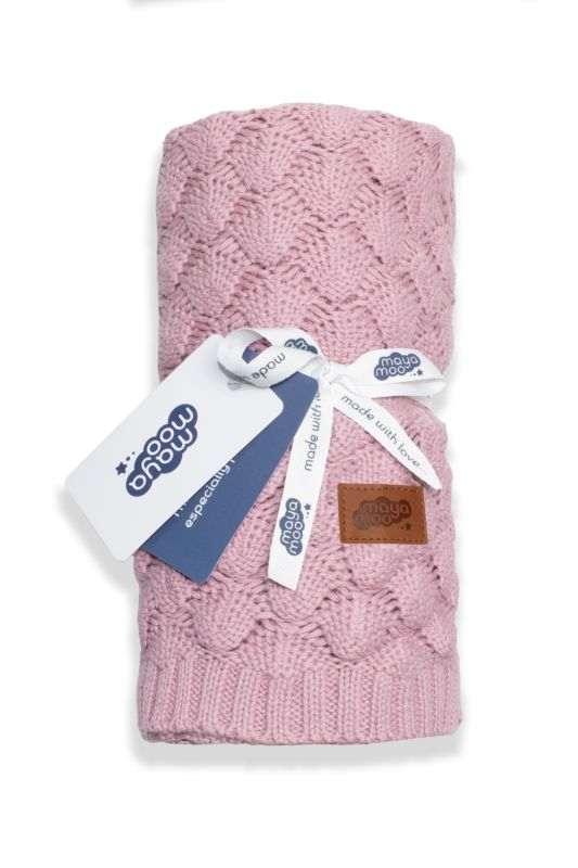DETEXPOL Pletená bavlnená deka do kočíka púdrovo ružová  Bavlna, 80/100 cm
