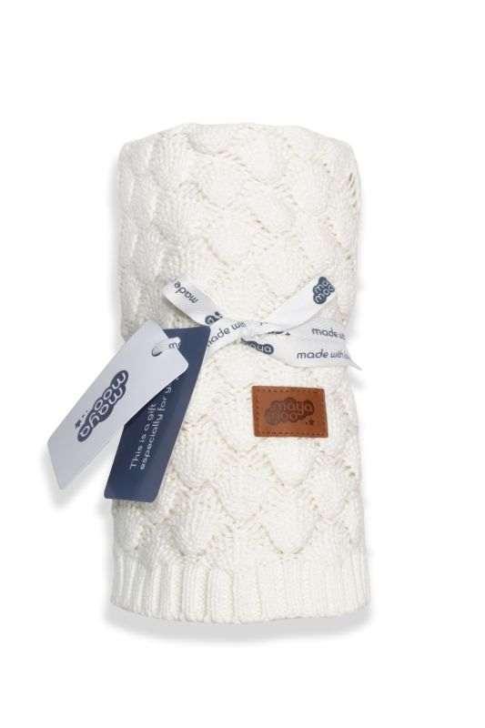 DETEXPOL Pletená bavlnená deka do kočíka smotanová  Bavlna, 80/100 cm