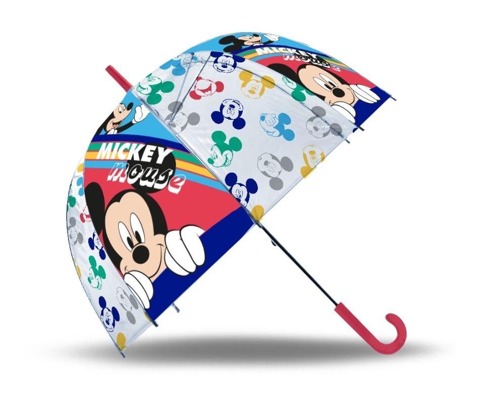 EUROSWAN Vystreľovací priehľadný dáždnik Mickey POE, průměr 70 cm