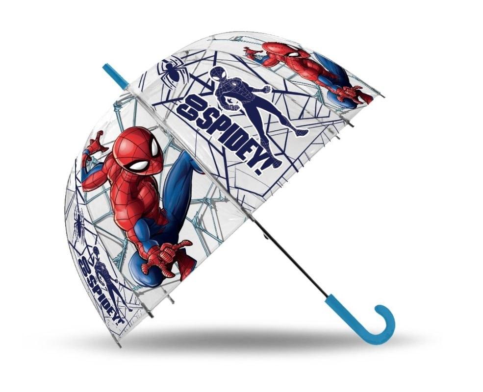 EUROSWAN Vystreľovací priehľadný dáždnik Spiderman Go POE, průměr 70 cm