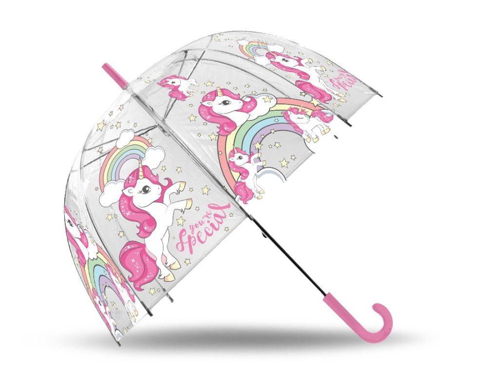 Transparentný dáždnik Jednorožec