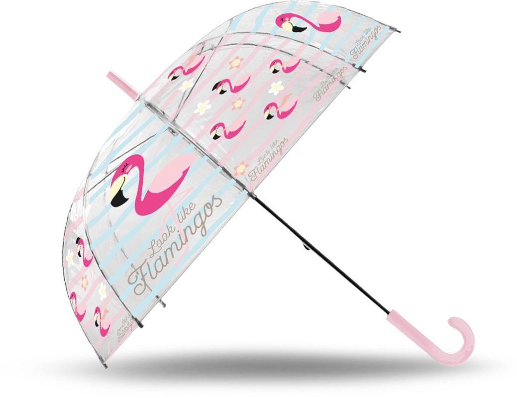 Vystreľovací transparentný dáždnik Plameniak