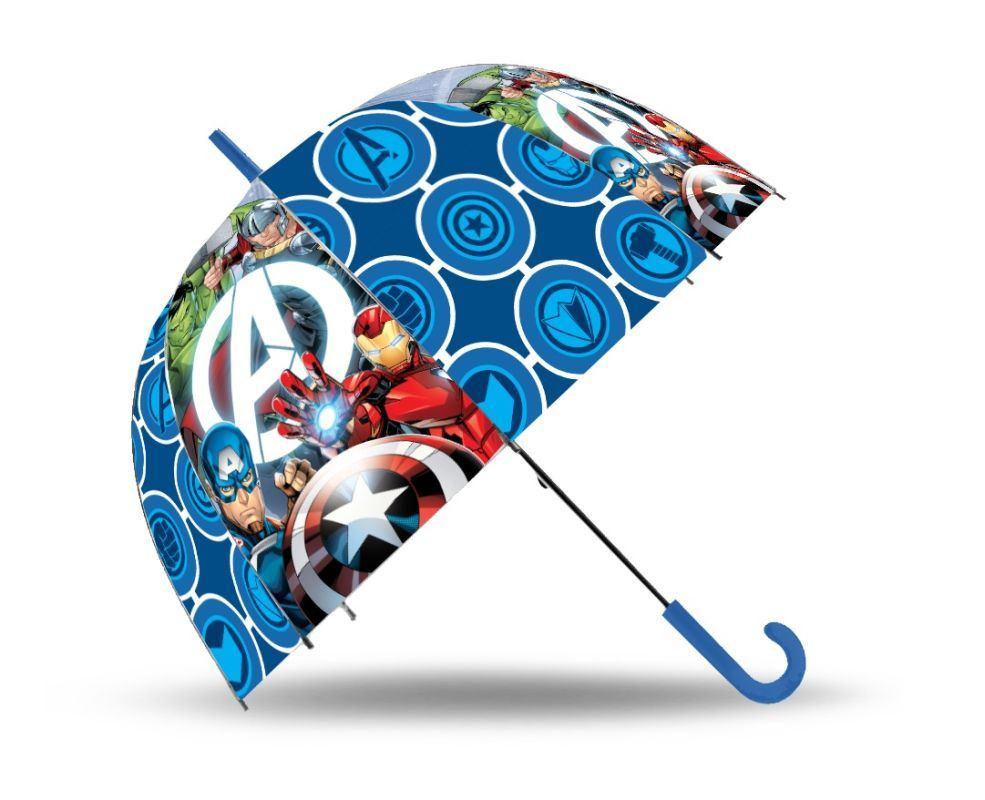 EUROSWAN Vystreľovací priehľadný dáždnik Avengers POE, průměr 70 cm
