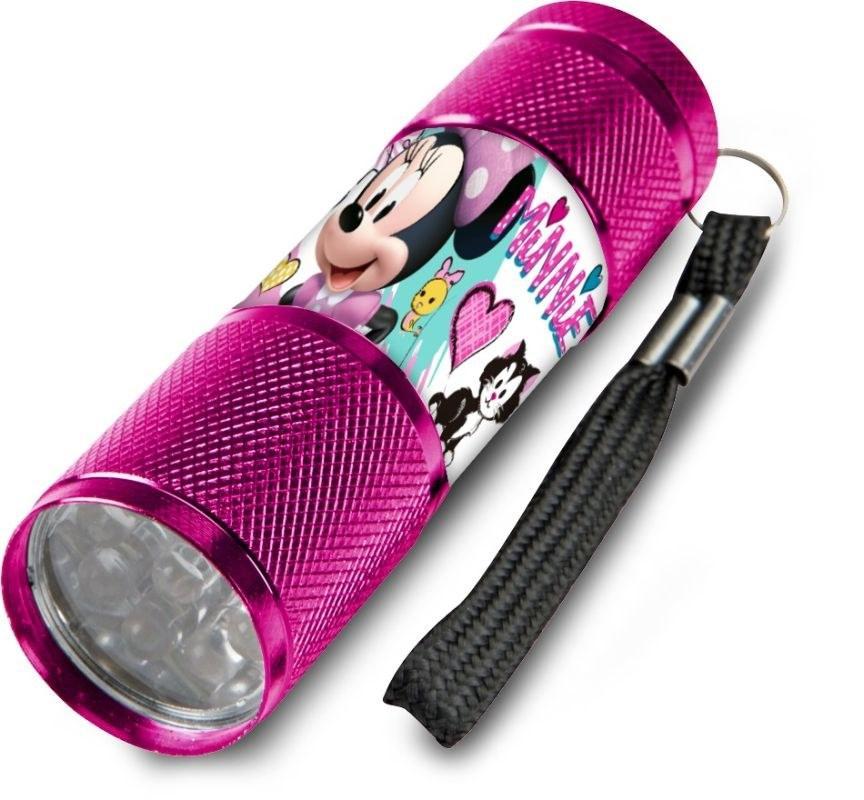 EUROSWAN Detská hliníková LED baterka Minnie malinová Hliník, Plast,  9x2,5 cm