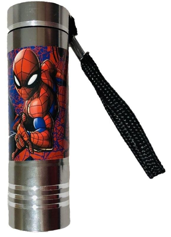 EUROSWAN Detská hliníková LED baterka Spiderman silver Hliník, Plast,  9x2,5 cm