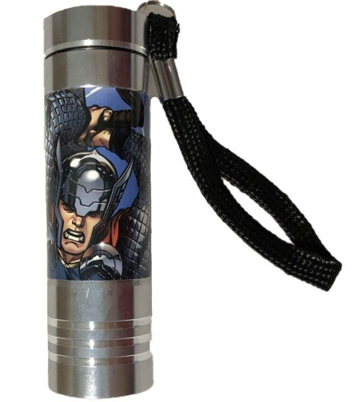 EUROSWAN Detská hliníková LED baterka Avengers silver Hliník, Plast,  9x2,5 cm