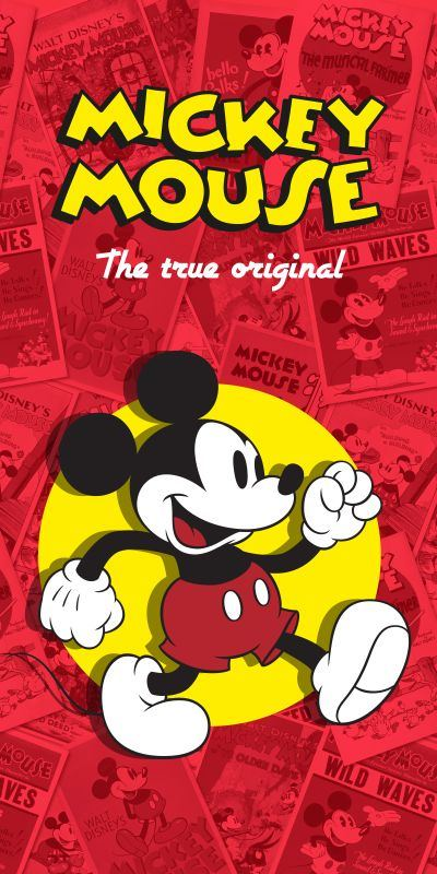 Osuška Mickey klasik červená 75/150 cm