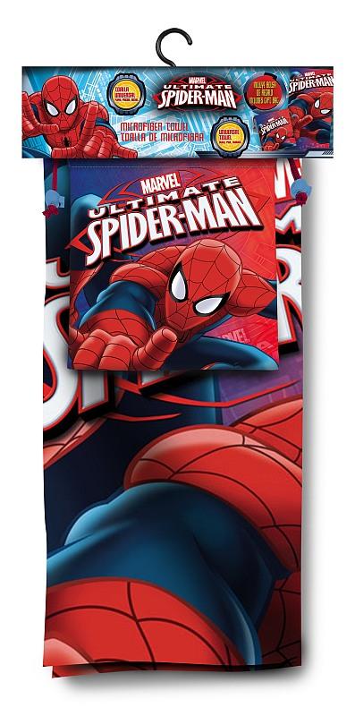 EUROSWAN Sada osuška a taška Spiderman Polyester, sáček 26x22 cm, osuška70x140 cm