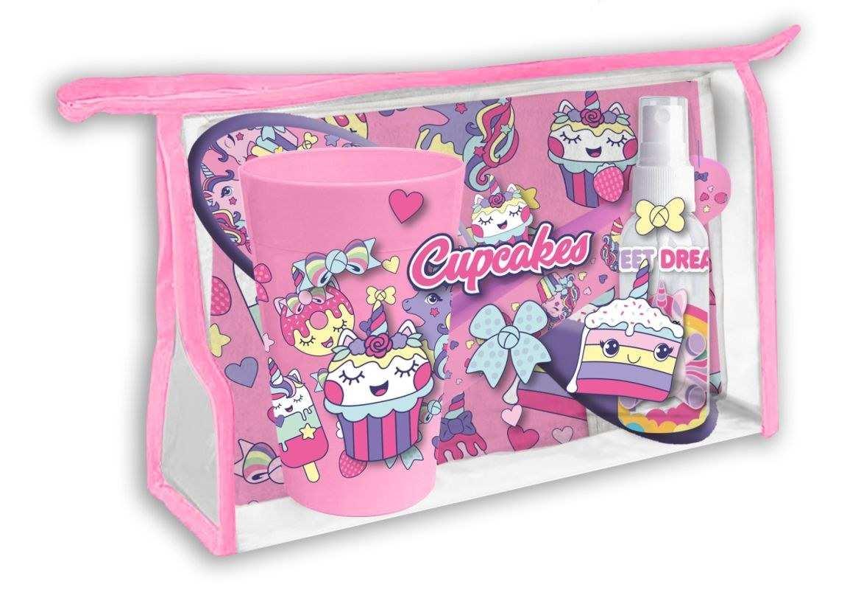EUROSWAN Kozmetická taška vybavená Cupcakes Polyester, PVC, 23x15x8 cm
