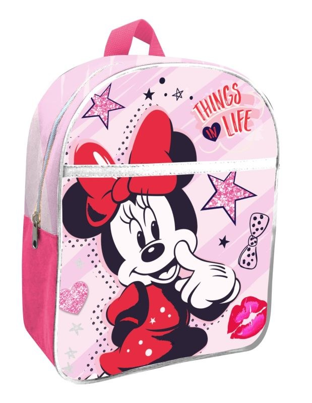 EUROSWAN Detský batoh s vreckom Minnie pink  Polyester, 30 cm