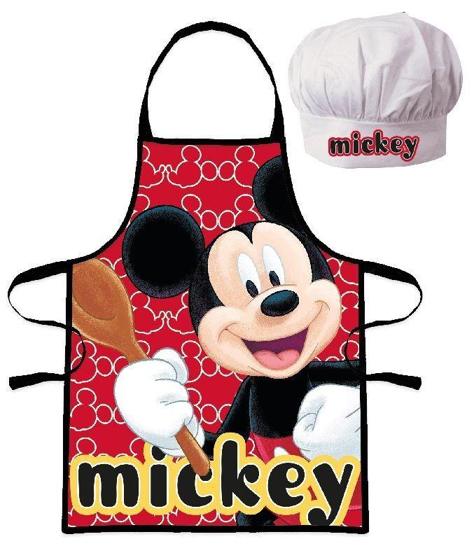 EUROSWAN Detská zástera s kuchársku čiapkou Mickey Polyester, 52x42 cm