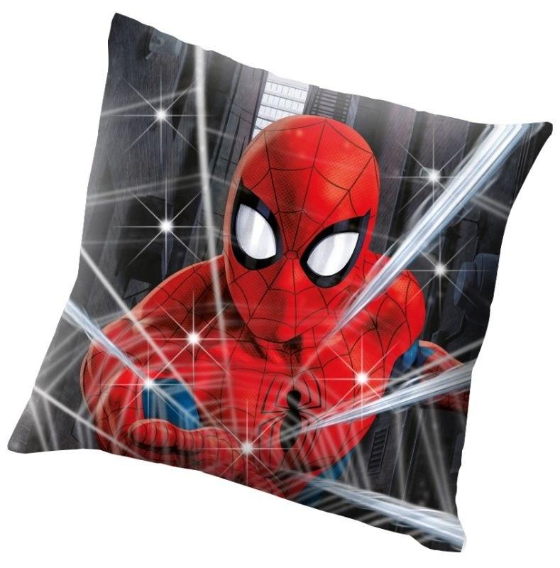 EUROSWAN Svietiace LED vankúšik Spiderman  Polyester, 40/40 cm