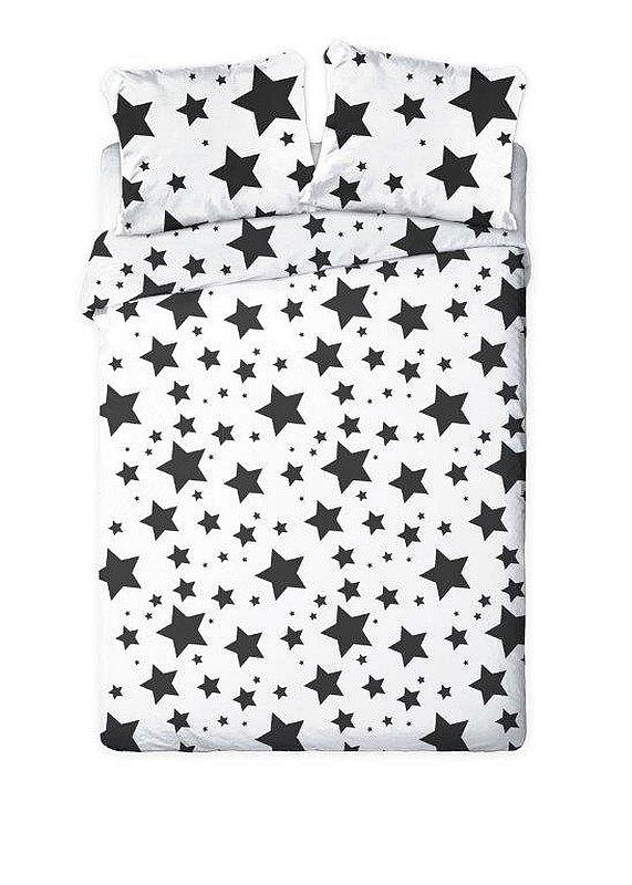 FARO Francúzske obliečky Hviezdy čiernobiele  Bavlna, 220/200, 2x70/80 cm