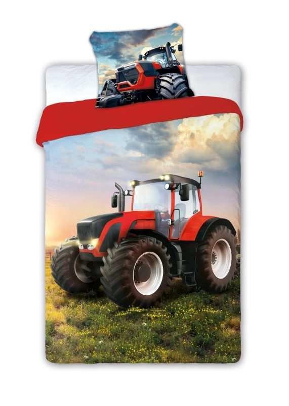 Obliečky Traktor červený 140/200, 70/90