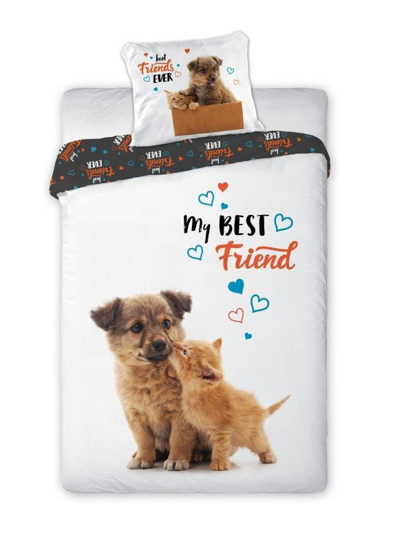 FARO Obliečky Best Friends mačiatko a šteňa  Bavlna, 140/200, 70/90 cm