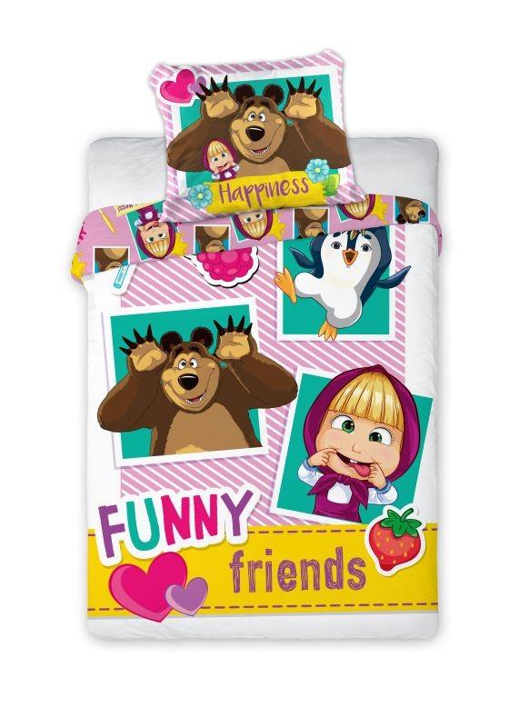 Obliečky do postieľky Máša a Medveď  Funny Friends 100/135, 40/60 cm
