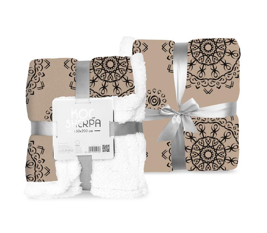 FARO Fleece deka baran ornamenty hnědá  Polyester, 150/200 cm