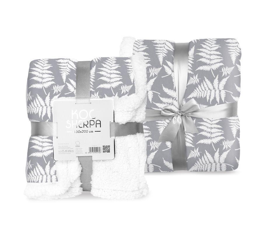 FARO Fleece deka baran listy sivá  Polyester, 150/200 cm