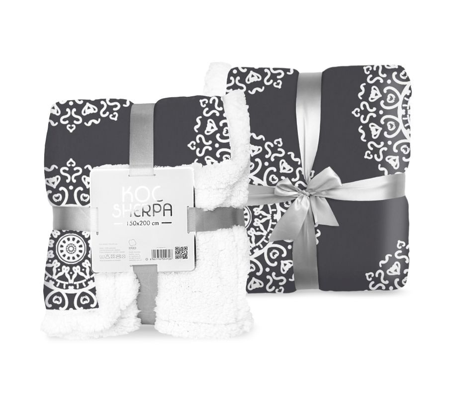 FARO Fleece deka baran ornamenty čierná  Polyester, 150/200 cm