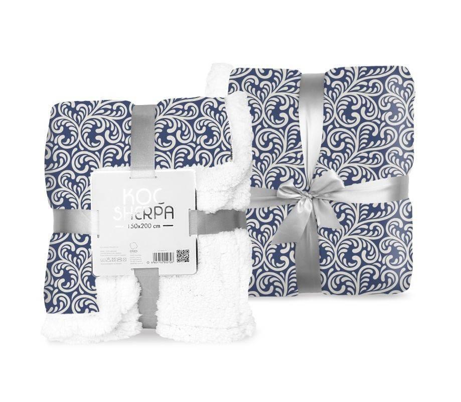 FARO Fleece deka baran listy modrá  Polyester, 150/200 cm