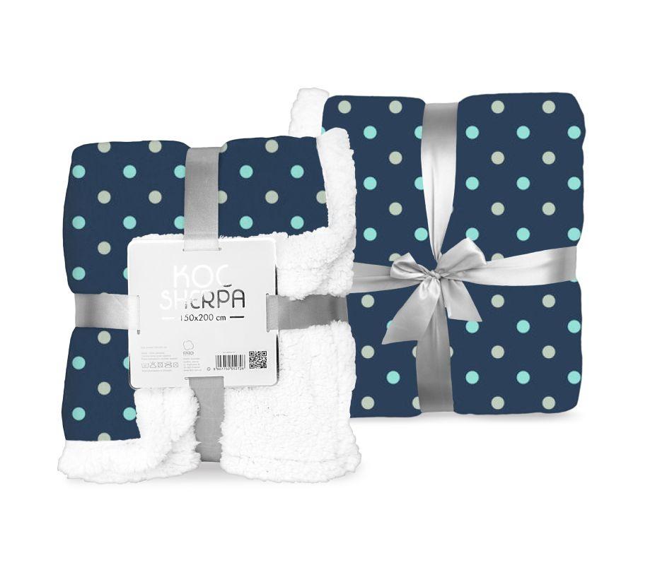 FARO Fleece deka baran puntíky modrá  Polyester, 150/200 cm