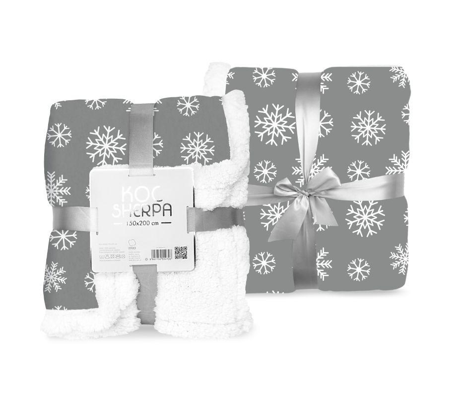 FARO Fleece deka baran vločky sivá  Polyester, 150/200 cm