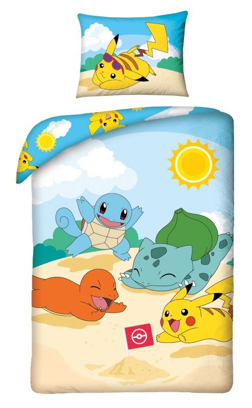 HALANTEX Obliečky Pokémon pláž  Bavlna, 140/200, 70/90 cm