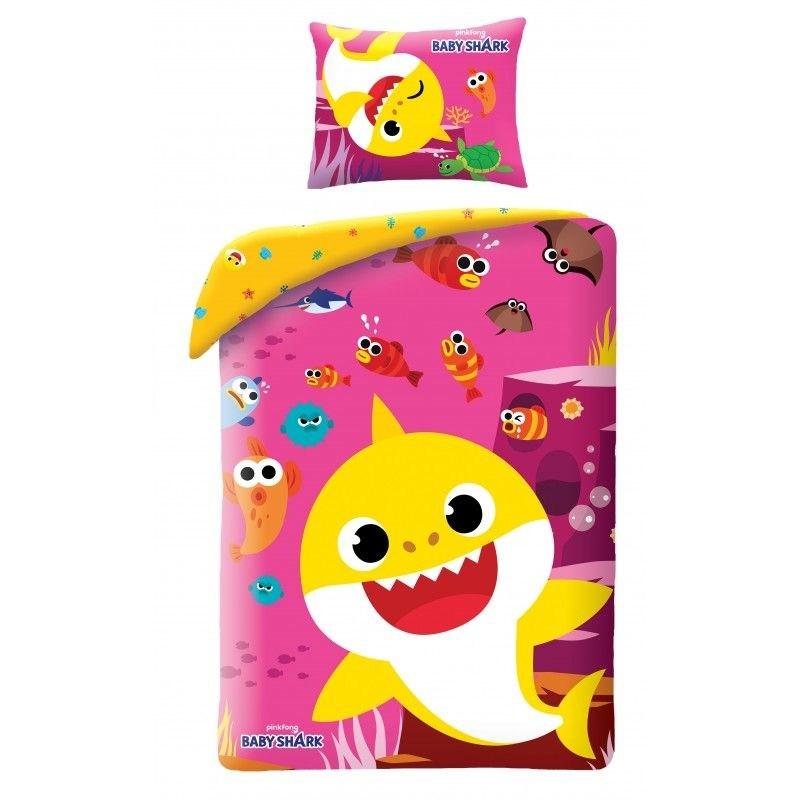 Obliečky Baby Shark Pink 140/200, 70/90 cm