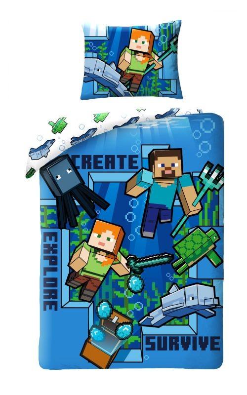 HALANTEX Obliečky Minecraft blue  Bavlna, 140/200, 70/90 cm