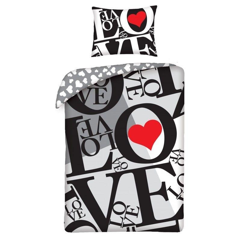 HALANTEX Obliečky Love grey  Bavlna, 140/200, 70/90 cm