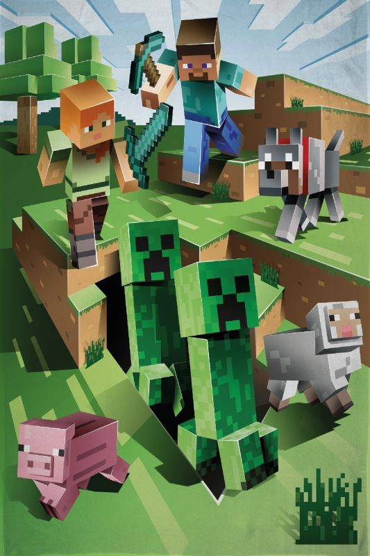 HALANTEX Fleece deka Minecraft Farma  Polyester, 130/170 cm